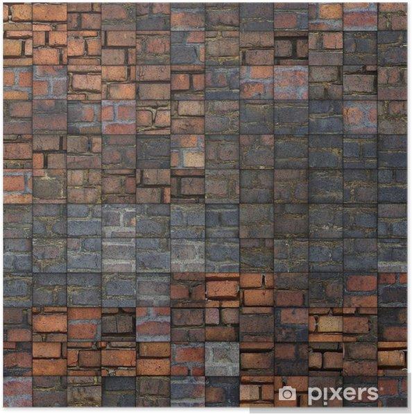 Plakat Grunge abstrakcyjna mozaika wzór cegła - Zabytki