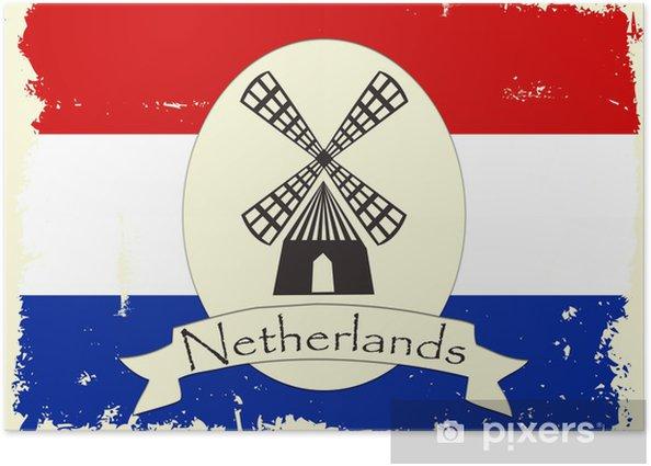 Plakat Grunge Holandia ilustracji z wiatraka dekoracji - Miasta europejskie