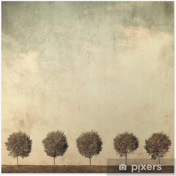 Plakat Grunge obraz drzewa - Style