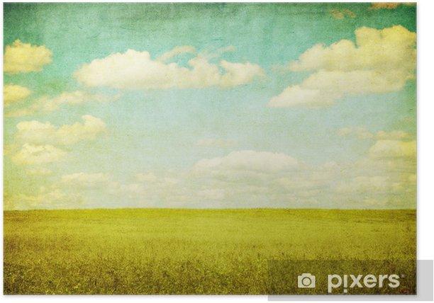 Plakat Grunge obrazu pole zielone i błękitne niebo - Tematy