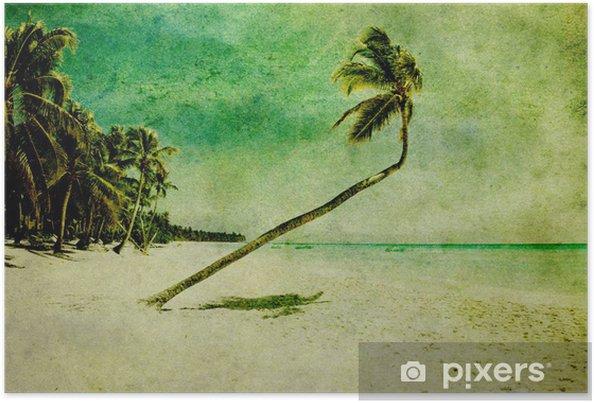 Plakat Grunge plaży - Pory roku