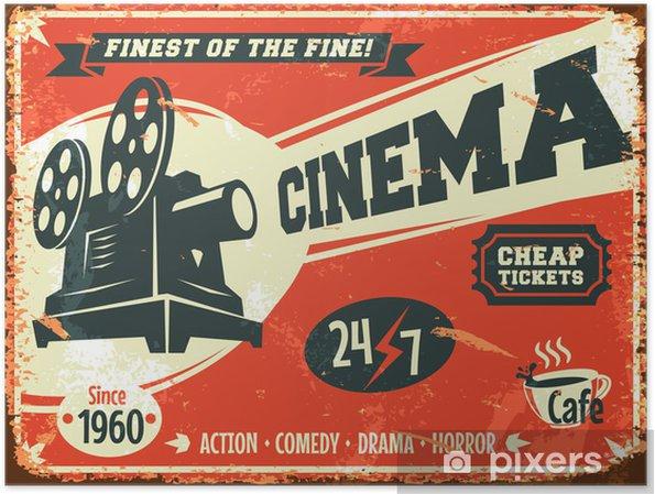 Plakat Grunge retro kinowy plakat. ilustracji wektorowych. - Tematy