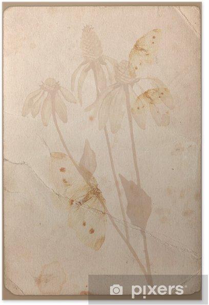 Plakat Grunge tła z kwiatem - Style