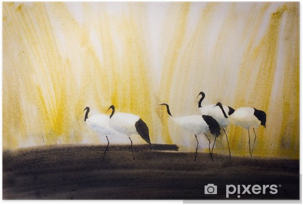 Plakat Grupa żurawi w trzcinach - Zwierzęta