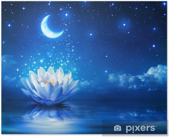 Plakat Grzybienie i księżyc w gwiaździstą noc - Magia tle - Przeznaczenia