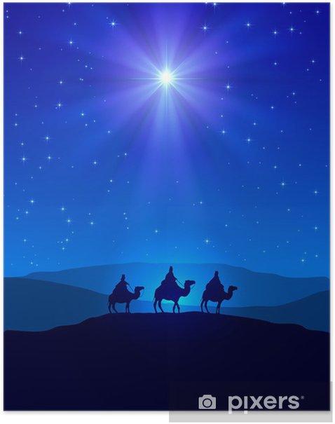 Plakat Gwiazda Betlejemska na błękitne niebo i trzech mędrców - Boże Narodzenie