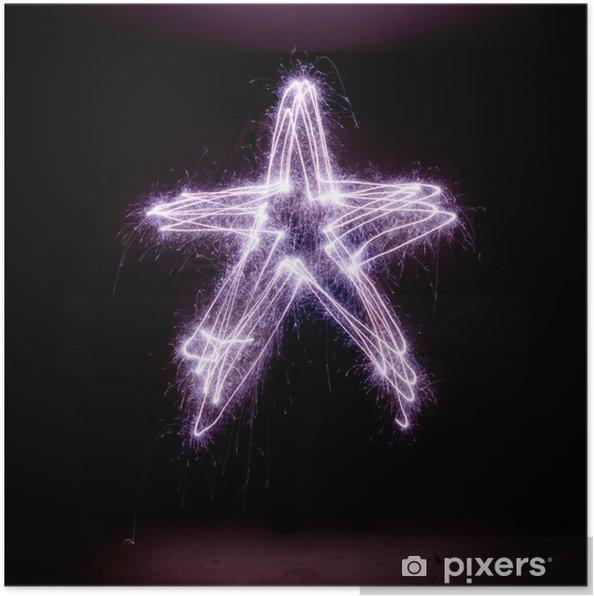 Plakat Gwiazda Betlejemska wykonany z zimnych ogni. - Święta międzynarodowe