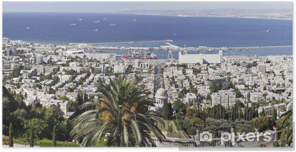 Plakát Haifa z Bahá'í zahrady - Střední Východ