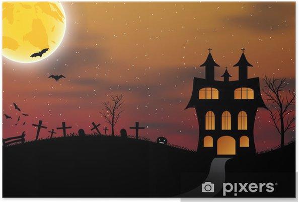 Plakat Halloween Karta S Hrad Dyne Netopyry A Mesic Pixers