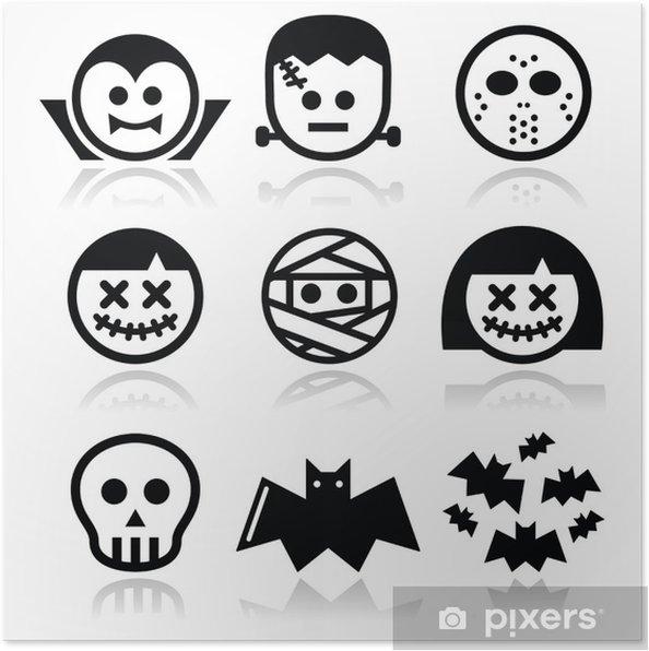Plakat Halloween znaków - Dracula, Frankenstein mumia ikony - Święta międzynarodowe
