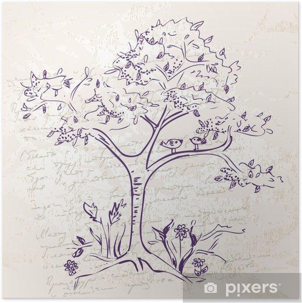 Plakat Hand-rysunek drzewa doodle - Sztuka i twórczość