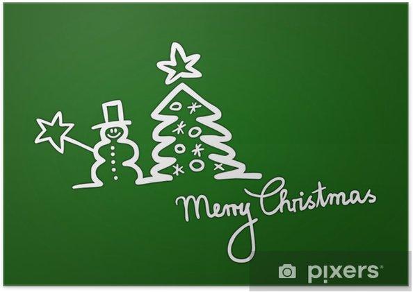 Plakát Handgezeichnete weihnachtskarte mit Sněhulák und Tanne, zelená - Mezinárodní svátky