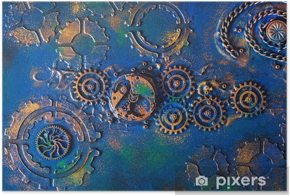 Plakat handmade steampunk background mechanical cogs wheels clockwork - Steampunk