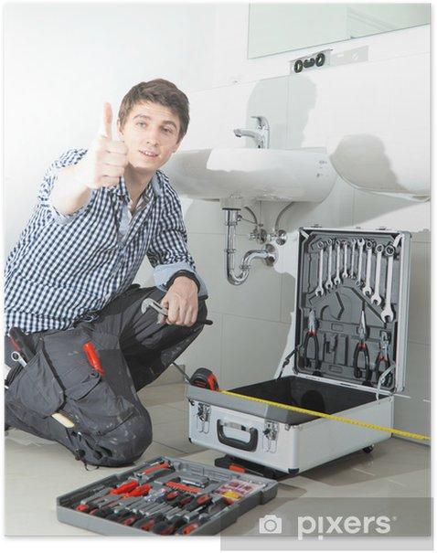 Plakát Handwerker im Badezimmer waschbecken sestřih - Profese