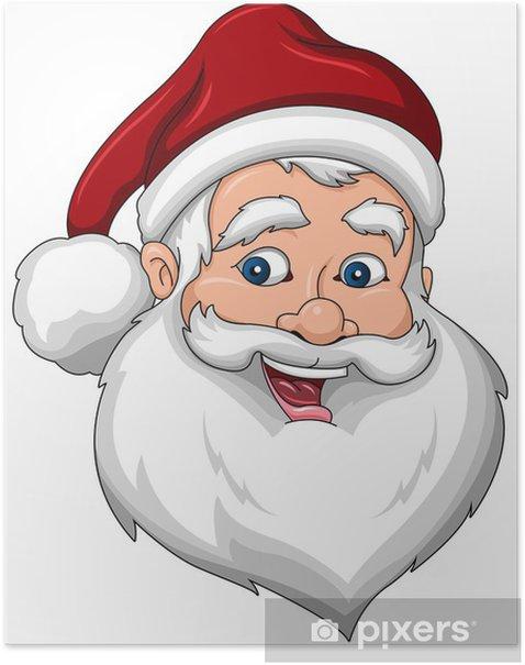 Plakat Happy Santa Claus twarzy Side View - Święta międzynarodowe
