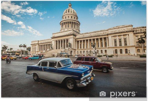 Plakat Havana, Kuba - czerwca, 7.. budynek stolicy Kuby, 7. 2011. - Kuba