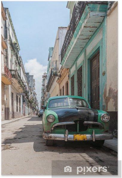 Plakat Hawana stary samochód szkoła -