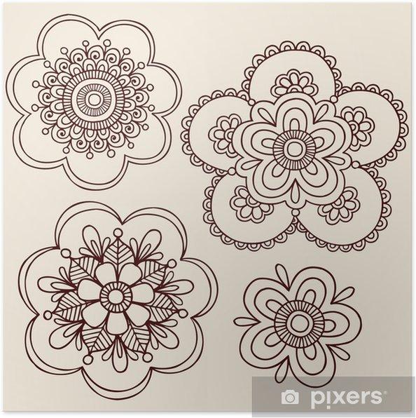 Plakát Henna tetování Flower Mandala Doodles - Styly