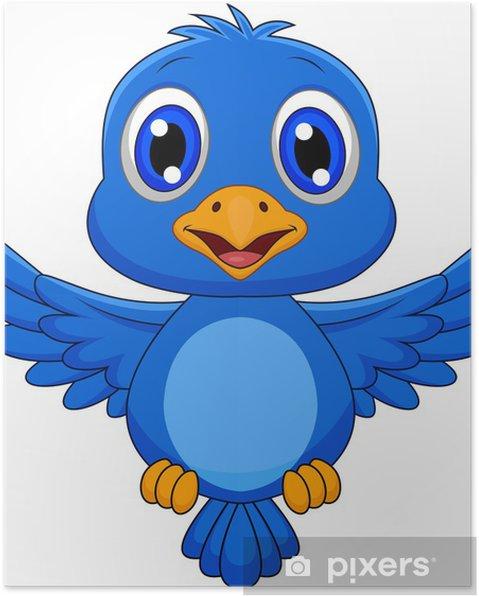 Plakát Hezký modrý pták karikatura - Nálepka na stěny