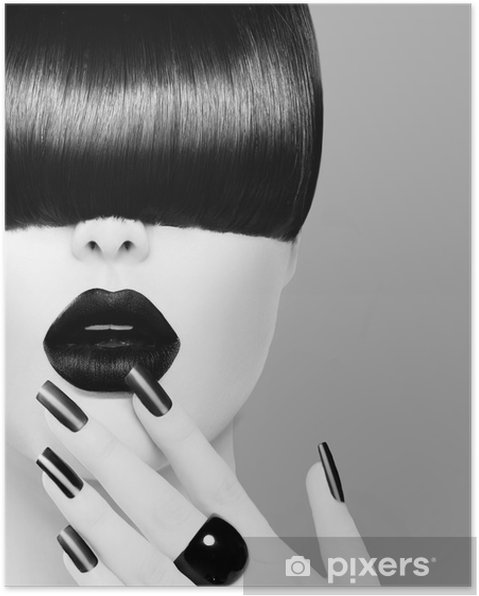 Plakat High Fashion model czarno-biały portret dziewczyny - Ciało