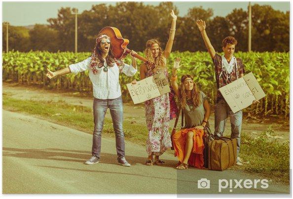 Plakat Hippie grupa autostopem na wiejskich drogach - Style