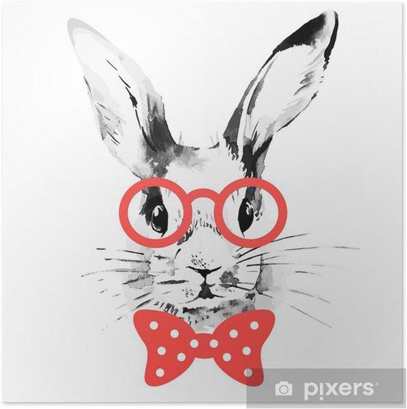 Plakat Hipster królika. ręcznie rysowane szkic akwarela portret - Króliki