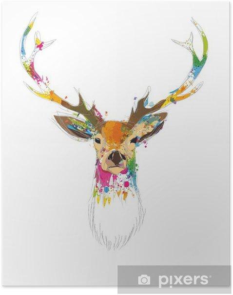 Plakat Hirschkopf - Zwierzęta