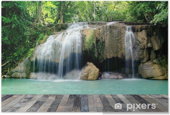 Plakát Hluboká lesní vodopád - Příroda a divočina