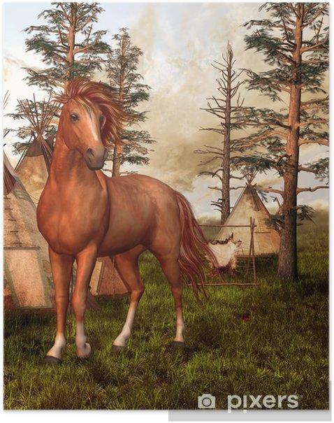 Plakát Hnědý kůň ve starém lese - Jiné