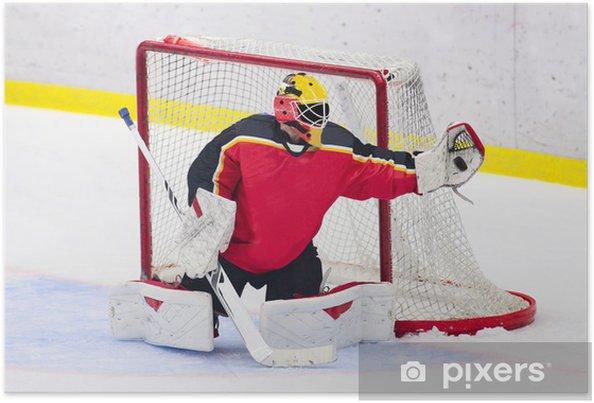 Plakat Hokej - Bramkarz łapie krążek - Sporty drużynowe