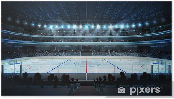 Plakat Hokej na stadion z fanami i pusty lodowisko - Sporty drużynowe