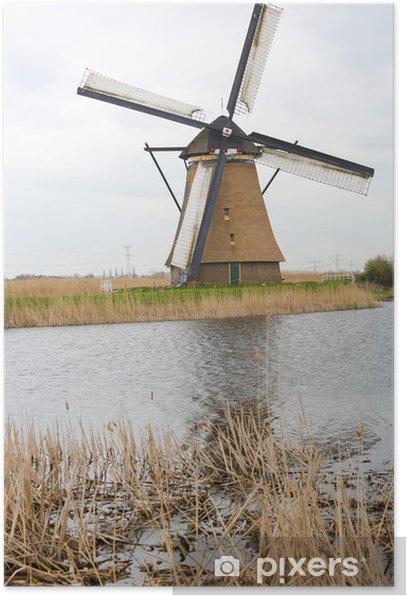 Plakat Holenderski wiatrak w Kinderdijk, niedaleko Rotterdamu w Holandii - Europa