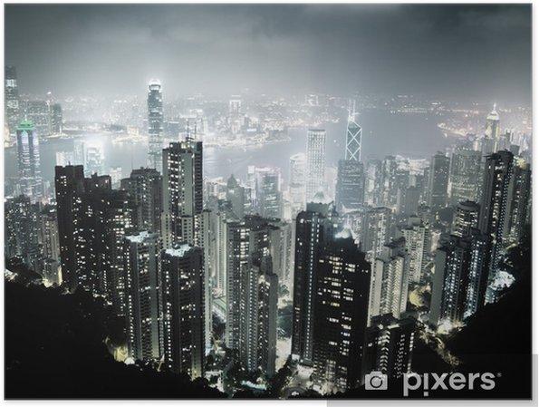 Plakát Hong Kong ostrov z vrcholu Victoria v noci - Asijská města