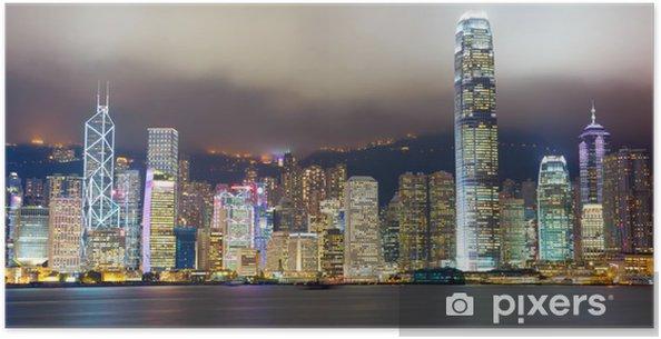 Plakát Hong Kong panorama mlha Victoria přístavu - Témata