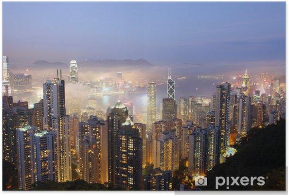 Plakat Hong Kong w mglisty wieczór. Wyświetl od szczytu - Miasta azjatyckie