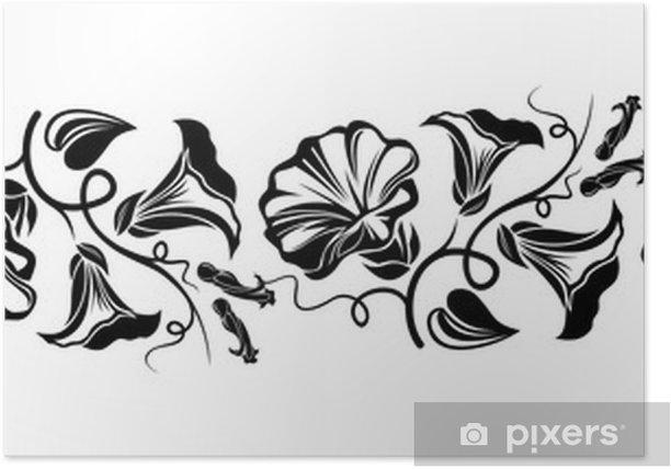 Plakát Horizontální bezešvé viněta s svlačec květin. Vektor. - Pozadí