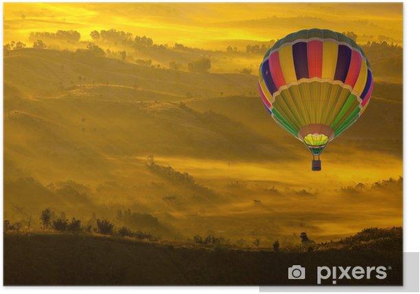Plakát Horkovzdušný balón Over Horská Autumn Landscape - Hory