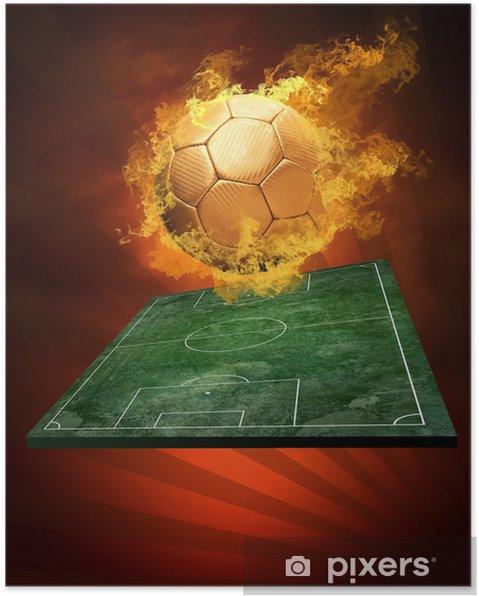 Plakát Hot fotbalový míč na rychlosti při požárech plamene - Zápasy a soutěže