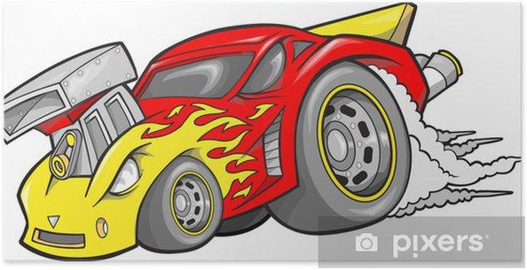 Plakát Hot-Rod Race-Car vektorové ilustrace - Na cestě