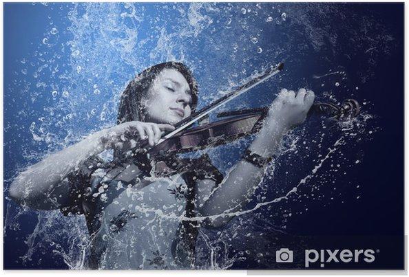 Plakát Hudebník hrající na housle pod vodou - Zábava