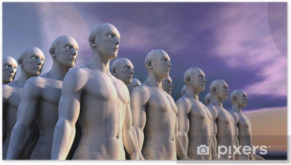 Plakát Humanoidní postavy a vzdálená planeta - Meziplanetární prostor