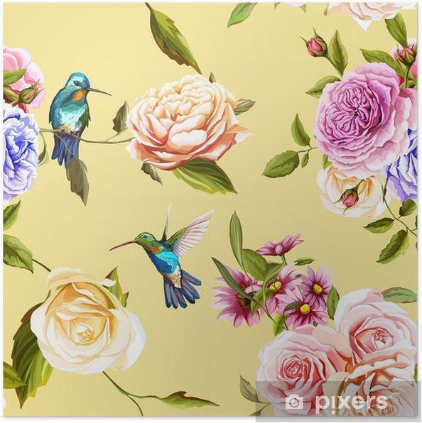 Plakát Humming bird, růže s listy na žluté. vodové barvy. bezproblémové vzorek pozadí. vektor - skladem. - Rostliny a květiny
