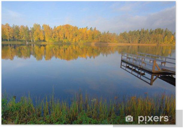 Plakát Idylické ráno jezero krajina v podzimním období - Evropa