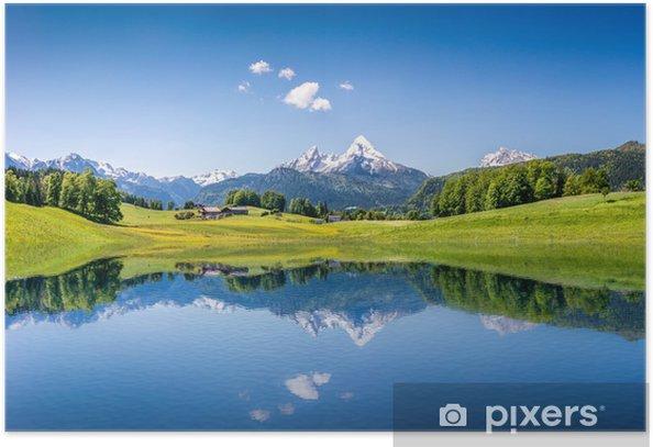 Plakat Idylliczne letnich krajobraz z górskie jezioro i Alpy - Tematy