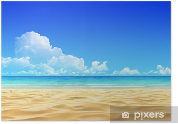 Plakat Idylliczne tle tropikalnej plaży piasek. - Tematy