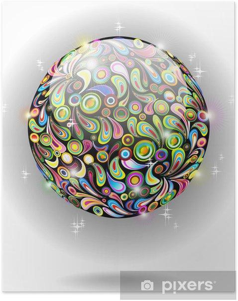 Plakat Ikona globu Kryształ Color-Kolorowe Kryształowy Glob-Vector - Znaki i symbole