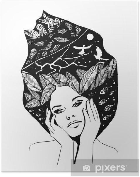 Plakat __illustration, graficzny portret czarno-białe kobiety - Ludzie