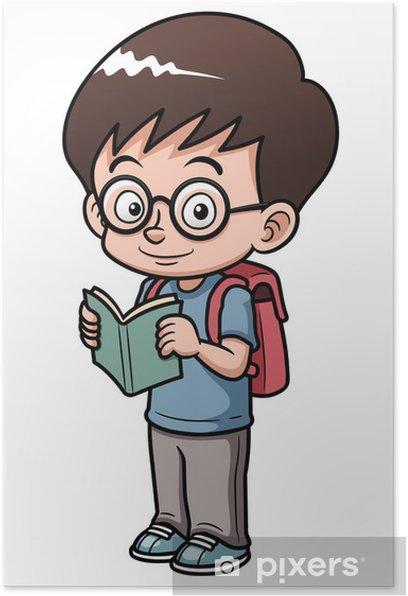 Plakát Ilustrace Chlapec chodit do školy - Nálepka na stěny