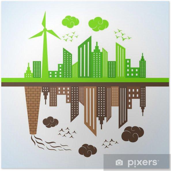 Plakát Ilustrace eko a znečištěné město - Ekologie
