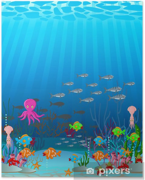 Plakat Ilustrace Kreslene Morskeho Zivota Na Pozadi Pixers